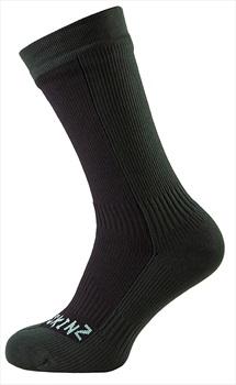 SealSkinz Hiking Mid Mid Waterproof Socks, S Black/Racing Green
