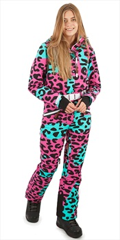OOSC Snow Suit Women's Snowboard/Ski One Piece, M Cheeky Leopard