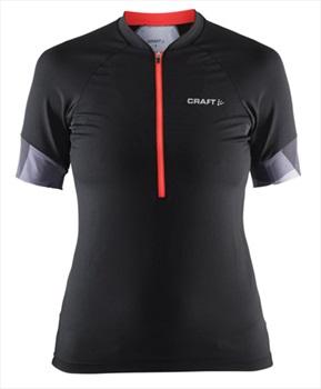 Craft Womens Classic Jersey Half-Zip T-Shirt, L Black/Shock