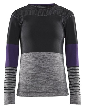 Craft Fuseknit Comfort Blocked RN Women's Long Sleeve Top, L Black