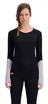 Mons Royale Bella Tech LS Women's Merino Wool Top S Black/Neon