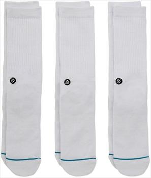Stance Icon 3-Pack Crew Skate Socks, M White