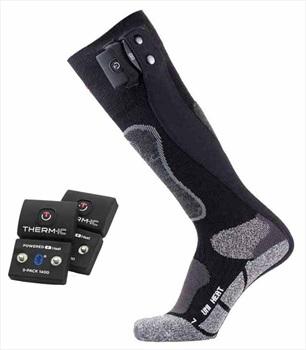Therm-ic Adult Unisex Sock Set Uni S-1400B Heated Ski Socks, L Black