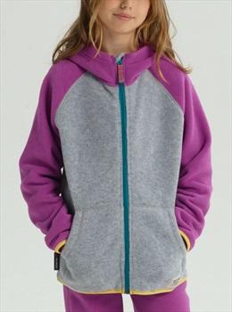 Burton Kid's Spark Full-Zip Fleece Hoodie, M Gray Heather/Grapeseed