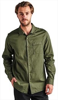 Roark Adult Unisex Well Worn Button Up Long Sleeve Shirt, L Green