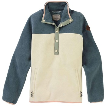 Burton Hearth Pullover Women's Snap-Up Fleece, M Slate / Crème Brûlée