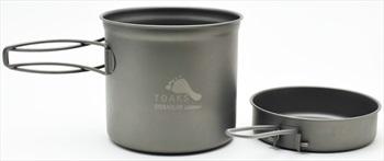 Toaks Titanium Pot With Pan Ultralight Camping Cookware, 1100ml Grey