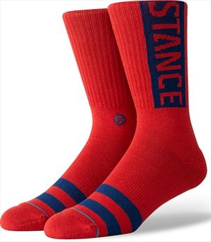 Stance OG Crew Skate Socks, L Dahlia Red