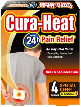 Cura-Heat Back & Shoulder Pain Relief Heat Patch, 4 Pack