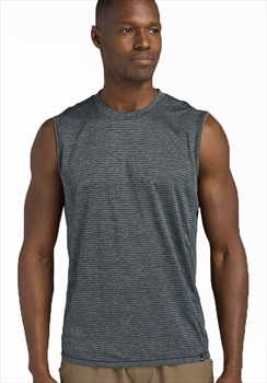 Prana Hardesty Technical Tank Top, L Grey Blue Stripe