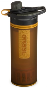 Grayl GeoPress Water Purifier Travel Filter Bottle, 710ml Amber