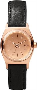 Nixon Small Time Teller Leather Women's Wrist Watch Rose Gold/Black
