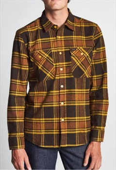 Brixton Adult Unisex Bowery Long Sleeve Flannel Shirt, S Brown/Gold