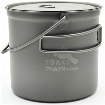 Toaks Titanium Pot + Bail Handle Ultralight Camping Cookware, 1100ml