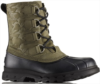 Sorel Portzman Classic Camo Men's Winter Snow Boots, UK 8.5 Black/Nori