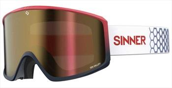 Sinner Sin Valley Full Red/Orange Snowboard/Ski Goggles M Matte Red