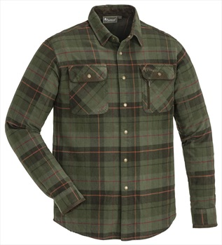 Pinewood Prestwick Long Sleeve Flannel Shirt, L Green/Terracotta