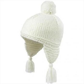 Manbi Women's Fluffy Salsa Ski/Snowboard Bobble Hat, 54-58cm White