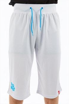 Planks Shred Base Layer Thermal Shorts, XL White/Cyan