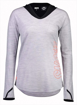 Mons Royale MTN X Women's Hooded Merino Wool Top, M Black/Grey