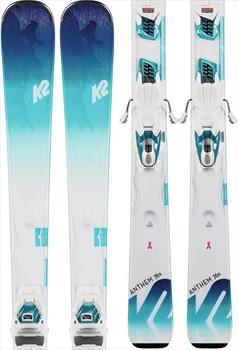 K2 Womens Anthem 76x Marker ER3 10 Women's Skis, 156cm White/Blue 2020