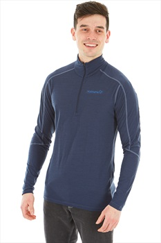 Norrona Equaliser Merino Zip Neck Long Sleeve Top M Indigo Night