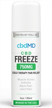 CbdMD CBD Freeze Cold Therapy 750MG Pain Relief Roll-On Gel, 3oz/90ml