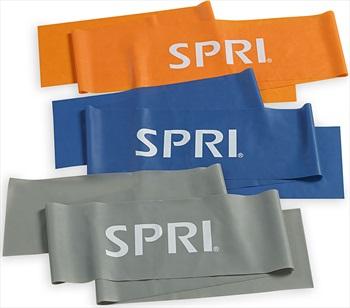 SPRI Flat Resistance Band Kit, Orange/Blue/Grey