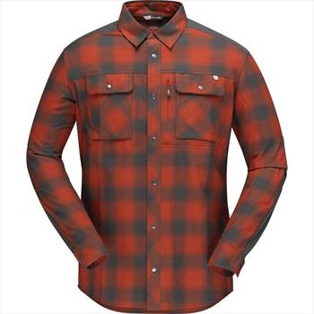 Norrona Svalbard Flannel Shirt, XL Rooibos Tea/Slate Grey Plaid