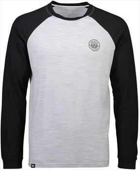 Mons Royale Icon Raglan Long Sleeve Merino Wool Top, L Black/Grey Marl