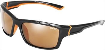 Sinner Cayo Sports Brown/Gold Wrap Around Sunglasses, Black/Orange
