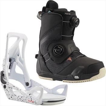 Burton Felix Step On Womens Snowboard Binding & Boots, UK 5.5 Splatter