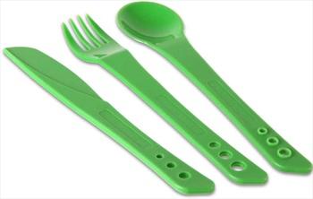 Lifeventure Ellipse Cutlery Set Compact Travel Cutlery, 3 Piece Green
