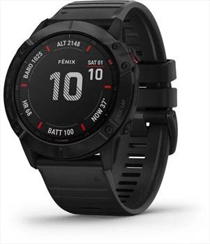 Garmin Fenix 6x Pro Multisport GPS Smartwatch, Black With Black Band