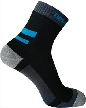 DexShell Running Waterproof Socks, UK 3-5 Black/Aqua Blue