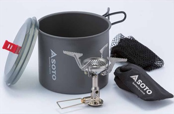 Soto New River Pot Combo + Amicus Backpacking Stove Cookset, 1L Grey
