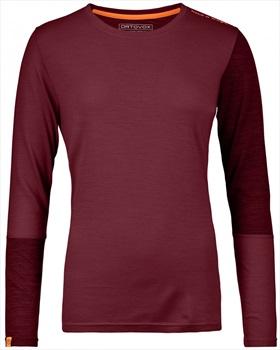 Ortovox Rock'n'Wool Women's Long Sleeve Merino Top, M Dark Blood