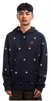 Nike SB Icon Diamond Pullover Hoodie, S Obsidian/Sail/Bright Crimson