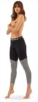 Mons Royale Christy Women's Merino Wool Leggings, S Black/Stripe