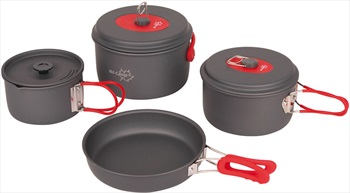 Bo-Camp Explorer 4 Cookware Compact Camping Cooking Set, 4 Pieces Grey