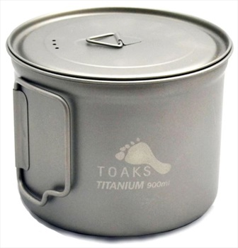 Toaks Titanium Pot Ultralight Camping Cookware, 900ml Grey