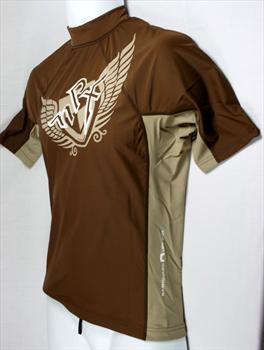 NPX Short Sleeve Ladies Rash Guard, Medium, Brown