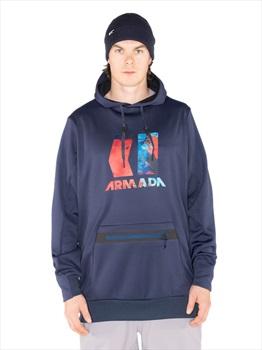 Armada Vortex Tech Fleece DWR Ski/Snowboard Hoodie, L Navy