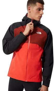 The North Face Stratos Waterproof Hiking Shell Jacket, M Flare/Black