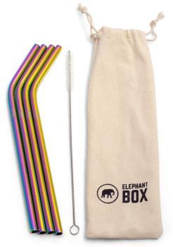 Elephant Box Rainbow Straws Stainless Steel Straw & Cleaner Kit