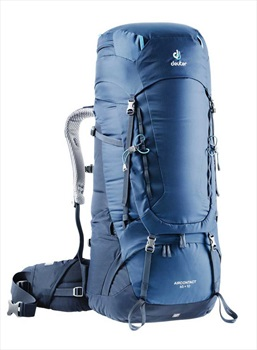 Deuter Mens Aircontact 65 + 10 Travel Backpack, Midnight/Navy
