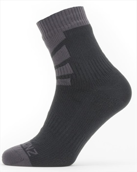 SealSkinz Warm Weather Ankle Length Waterproof Socks, XL Black/Grey