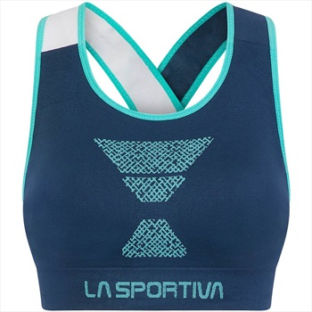La Sportiva Womens Focus Top Sports Bra, L Opal/Aqua