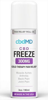 CbdMD CBD Freeze Cold Therapy 300MG Pain Relief Roll-On Gel, 3oz/90ml