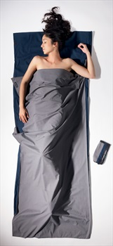 Cocoon TravelSheet Cotton Lightweight Sleeping Bag Liner, Grey/Blue